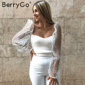Image 3 - BerryGo Fashion sexy off shoulder blouse shirt women Casual cool blouse female top 2020 new Spring summer white mesh blouse