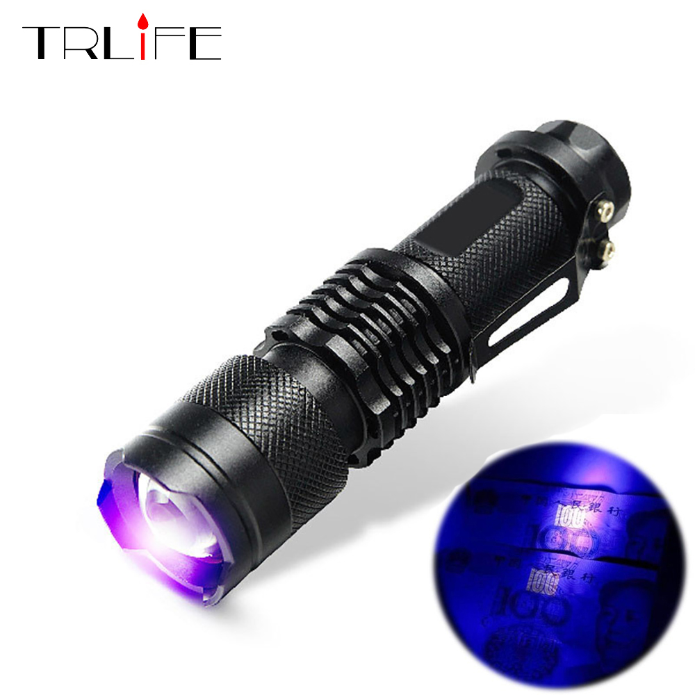 UV Black Light Ultraviolet Flashlight Torch Light Lantern Zoom Light 395nm Hand Lamp Pet Urine Stains Detector Scorpion Hunting