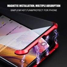 Çerçevesiz temperli cam manyetik kılıfı iPhone XS MAX XR X 7 8 artı çift cam tam koruyucu Metal manyetik cam kapak