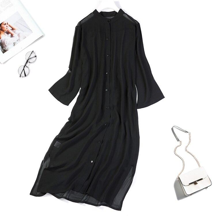 Women's 100% Silk Black Collar Button Down Long Thin Top Kimono Cardigan Shawl Coat Blouse Summer Beach Cover Up One Size JN145
