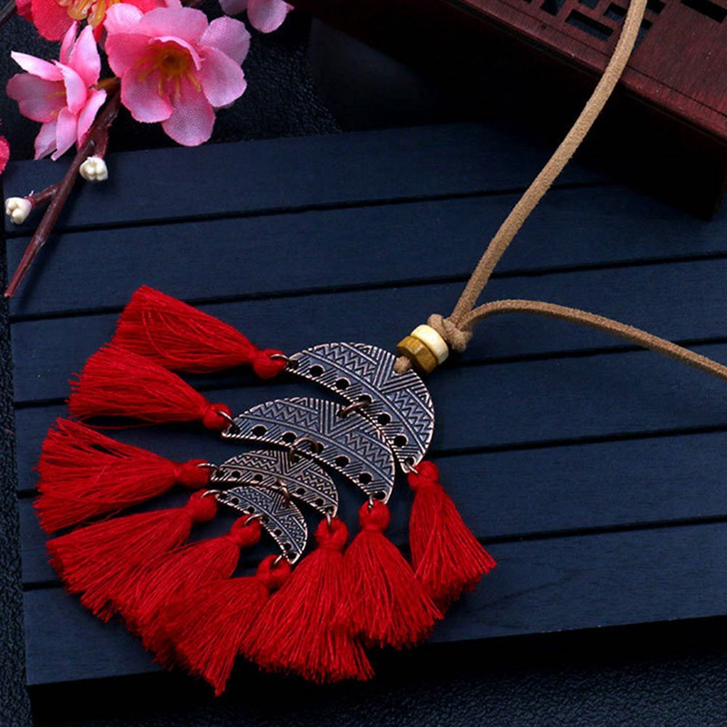 Trendy Tassel Necklace For Women Ethnic Necklace Boho Long Necklace Punk Jewelry