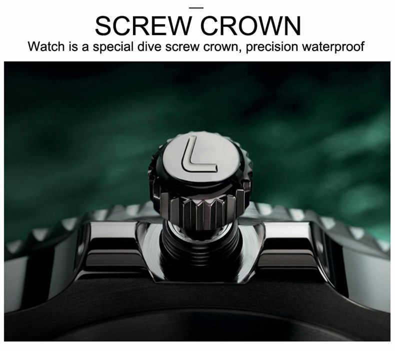 自動腕時計メンズ LOREO ダイビング機械式メンズ腕時計フル鋼サファイアレロジオ Masculino 防水リロイ 2019 新