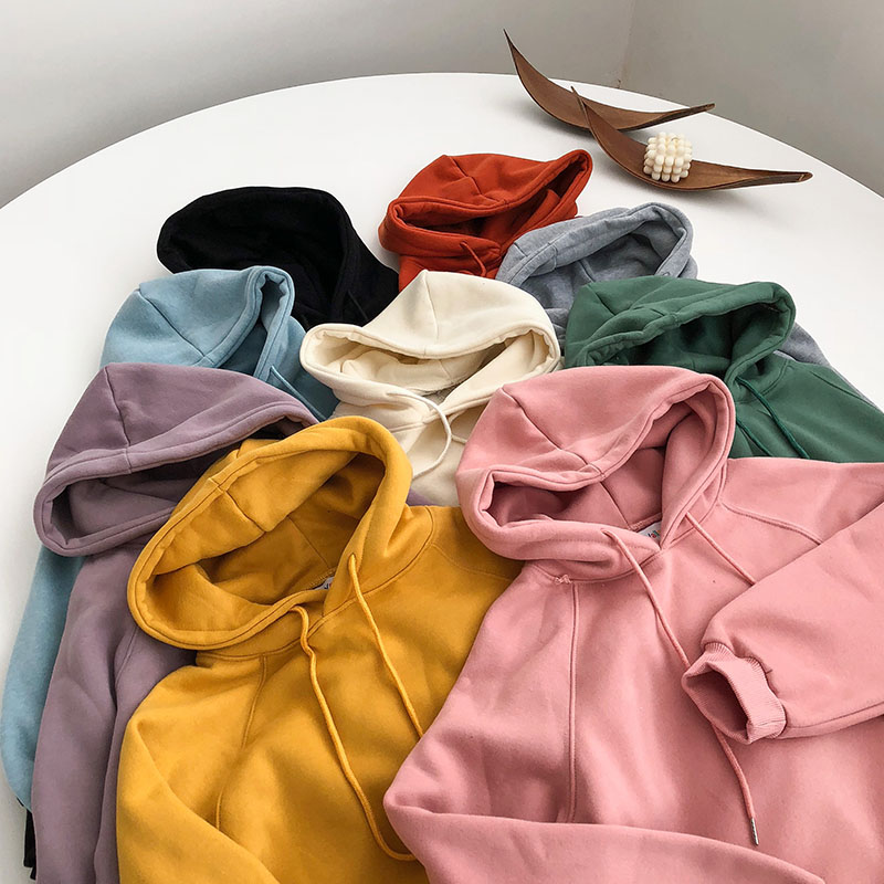 Autumn and winter new women's hoodie sweatshirt long-sleeved yellow female hooded loose hooded female thick coat hoodies