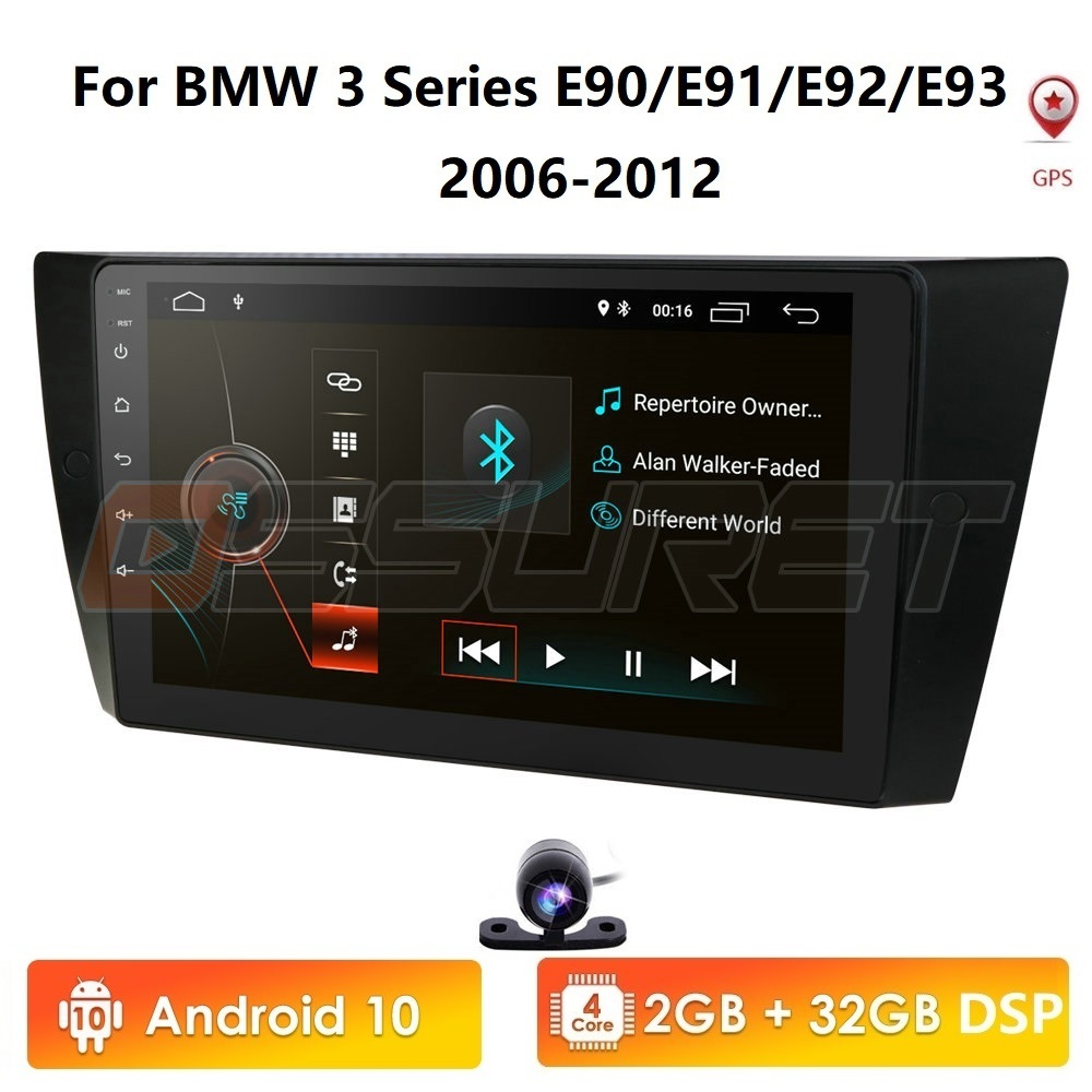 Hizpo Android 10 car <font><b>gps</b></font> navigation for bmw <font><b>e90</b></font> E91 E92 <font><b>GPS</b></font> 4G Bluetooth Radio USB SD Steering wheel CAM-IN DTV OBD2 DVR DAB PC image