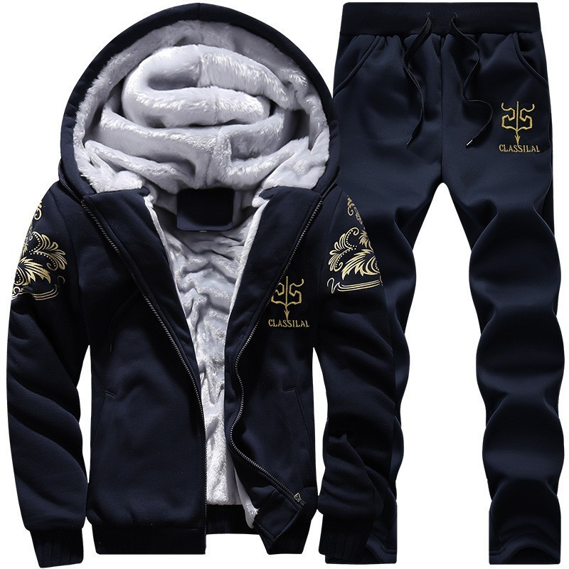 Winter Mens Fleece Lining Tracksuit Golden Printed Two Piece Joggers Track Suit 4XL Casual Hoody Sweatshirt Sets Conjunto Hombre