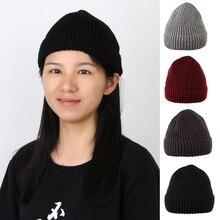 Ladies Men Stylish Winter Warm Ribbed Knit Hat Ski Beanie Skull Cap Sailor Cap Docker Hat Cuff Brimless Retro Skateboard