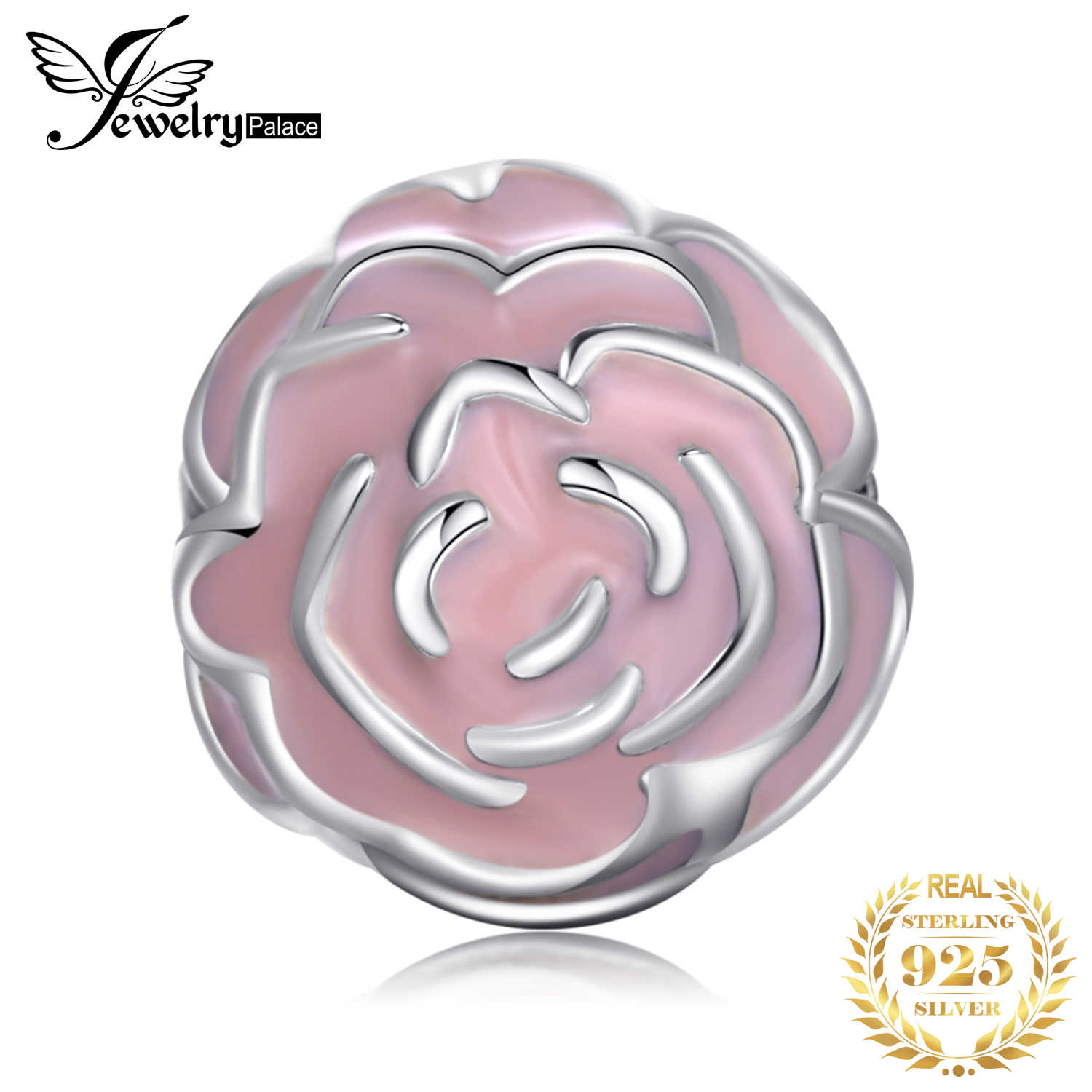 Jewelrypalace 925 Sterling Silver Early Puberty Flowers Pink Enamel Beads Charms Fit Bracelets Gifts For Women Fashion Jewelry