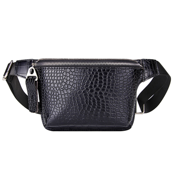 Casual Waist Bag for Women Alligator Leather Fanny Pack Phone Pouch Chest Packs Ladies Wide Strap Belt Bag Female Crossbody Flap