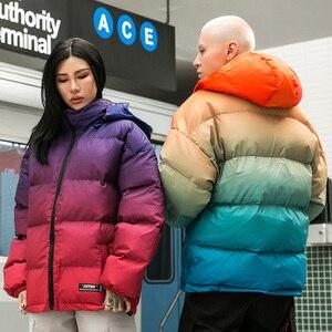 Image 5 - Men Hip Hop Hooded Jacket Winter 2019 Streetwear Gradient Color Padded Parka Harajuku Trench Coat Windbreaker Outwear Oversize
