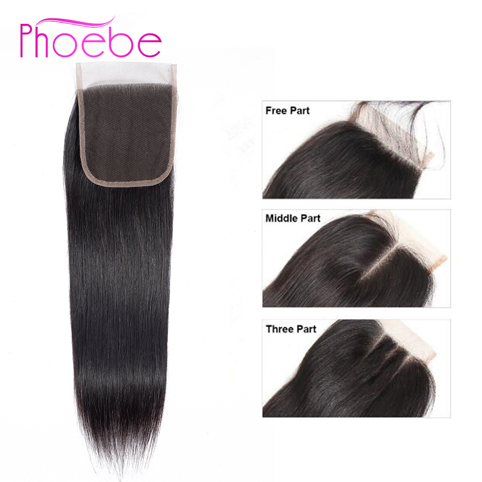 Phoebe Hair 100% Human Hair Non Remy Brazilian Straight 4*4 Lace Closure Weave Pre-colored 1 Pcs 8-22 Inch Natural Color