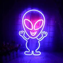 Acrílico sinal de néon luz alienígena nave espacial em forma para crianças quarto sala de jogos natal festa férias arte do casamento decoração para casa presente