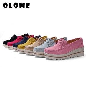Image 5 - 2020 bahar kadın Flats ayakkabı platformu Sneakers daireler üzerinde kayma deri süet bayanlar loaferlar rahat ayakkabılar kadınlar loafer ayakkabılar