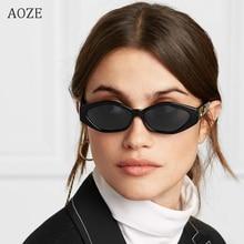 AOZE New sunglasses brand fashion ladies sunglasses small Frame cat eye cool white 3D frame leopard black yellow blue lens UV400
