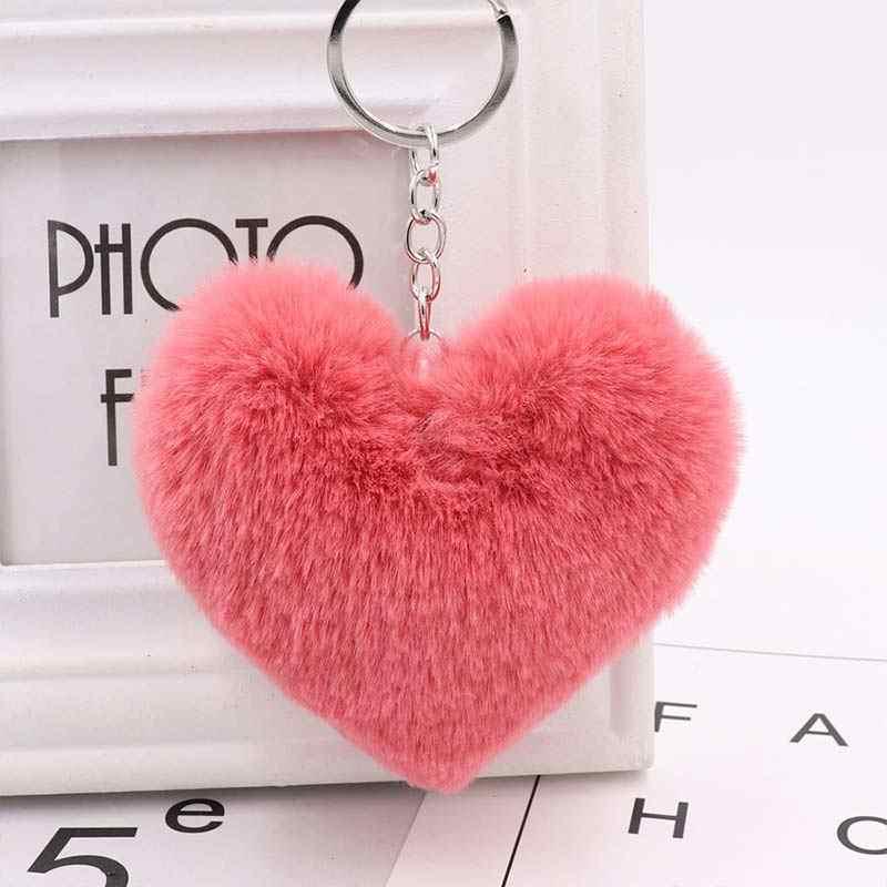 10CM lindo corazón mullido llaveros mujeres simulación conejo piel llaveros chica bolsa colgante coche llavero joyería accesorios