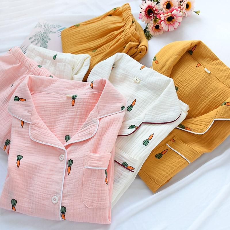 Japanese Style Pajamas for Women Autumn Nightwear Long Sleeve Cotton Pyjamas Women Gauze Thin Carrot Print Pijama Winter Pigiama