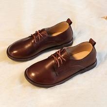 PEIPAH Women Autumn Genuine Leather Shoes Woman Retro Oxford