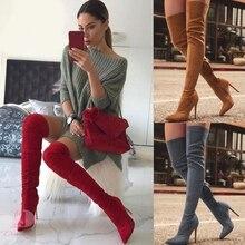 真新しい女性の靴女性プラス大型ビッグサイズ 32 48 膝ブーツシンハイヒールセクシーなパーティーブーツbota ş デmujer 2020
