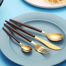 Nordic Wood Grain 304 Stainless Steel Tableware Steak Full Set of Three-Piece Household Western-Style Fork Spoon Knife