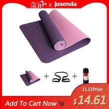 Tapis de Yoga TPE antidérapant avec Bandage, tapis de sport avec sac, gymnastique, Pilates, 6mm, 183*61cm