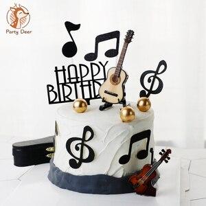 Музыкальные ноты гитара скрипка торт Топпер орнамент музыка вечерние музыкальные украшения Музыкальные Символы кекс выбирает музыкальную...