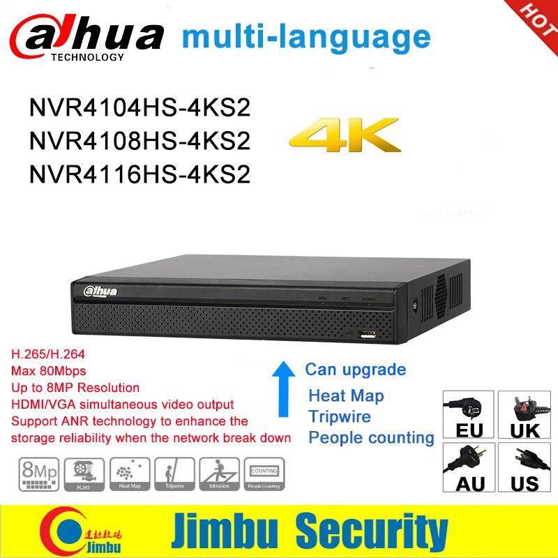 Dahua NVR Enregistreur Vidéo Réseau 4K NVR4104HS-4KS2 NVR4108HS-4KS2 NVR4116HS-4KS2 4CH 8CH 16CH 4K H.265/H.264 multilingue