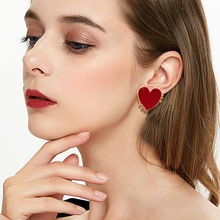 New Design Punk Gold Edge Red Acrylic Heart Stud Earrings For Women Bohemian Big Earring Christmas Jewelry Gift Festival