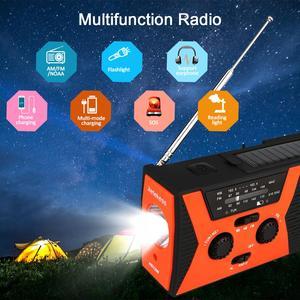 Image 5 - RETEKESS HR12W FM AM NOAA SOS Portable Emergency Radio Waterproof LED Lighting Hand Crank Solar Radio Receiver For Camping