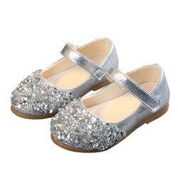 Moda bebê meninas vestido liso sapatos de festa crianças criança miúdo strass sapatos de princesa