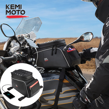 KEMiMOTO Motorcycle Tank Bag Backpack With USB Charge Port Waterproof Expandable Fuel Oil 6L to 7L For BMW R1200gs R1250GS
