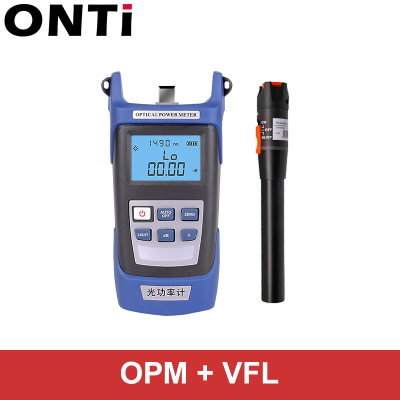 ONTi Fiber Optic Tool Kit FC/SC Connector VFL OPM Optical Power Meter Laser Source And Visual Fault Locator 1/10/20/30mW 5-30km