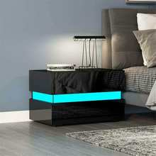 LED Nightstand Cabinet-Storage Bedside Table Bedroom-Decoration Home-Furniture RGB Magazine-Bed