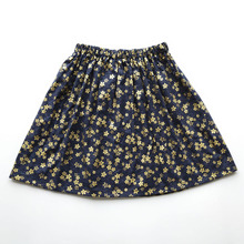 Kids Girl Skirt Flower A-Line Baby Princess Cotton Fashion Golden Children Summer Navy