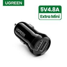 Ugreen мини USB Автомобильное зарядное устройство для мобильного телефона планшета gps 4.8A быстрое зарядное устройство автомобильное зарядное устройство двойной USB автомобильный адаптер зарядного устройства для телефона в автомобиле