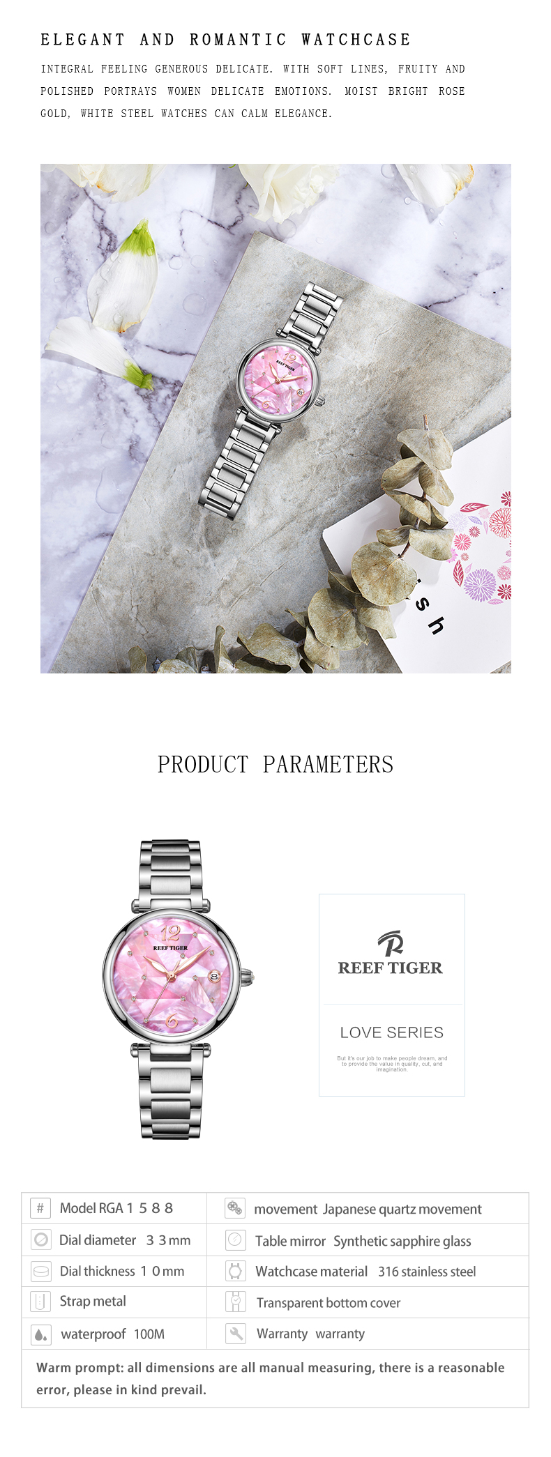 Reef Tiger/ RT Fashion Diamond Luxury Dress Watch Stainless Steel Bracelet Automatic Waterproof Stainless Steel Watch RGA1584