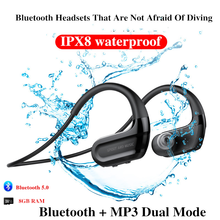 Newest Fashion Outdoor IPX8 Waterproof Swimming earphones HiFi Music 8G Memory Diving Running Dustproof Earphones outdoor swimming diving regulator bracket tool mounting pressure protable diving equiment hose hook breathing spare accessories