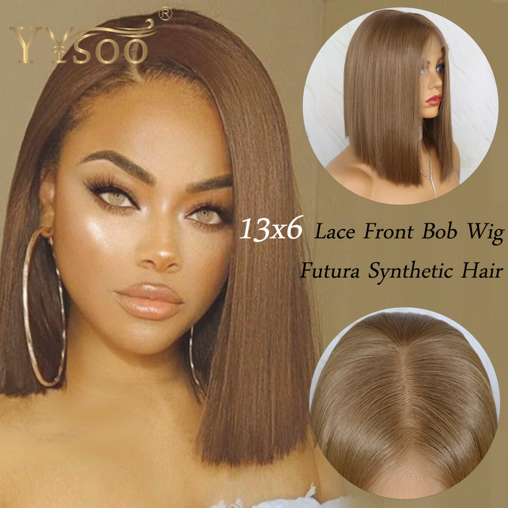 YYsoo Short 13x6 Futura Synthetic Lace Front  Wig #10 Color Silky Straight Brown Wigs For Women Heat Resistant Natural Hairline
