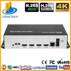 Kosteneffectieve 4 Kanalen 4K Hevc H.265 H.264 Hdmi Video Encoder Hdmi Naar Ip Streaming Encoder Met Udp hls Rtmp Rtsp Rtmps Srt