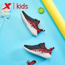 Xtep Boy running shoe Mesh Breathable Boy sport sneakers Children lightweight Velcro Kid Sneaker 681315119317 slogan detail velcro sneakers