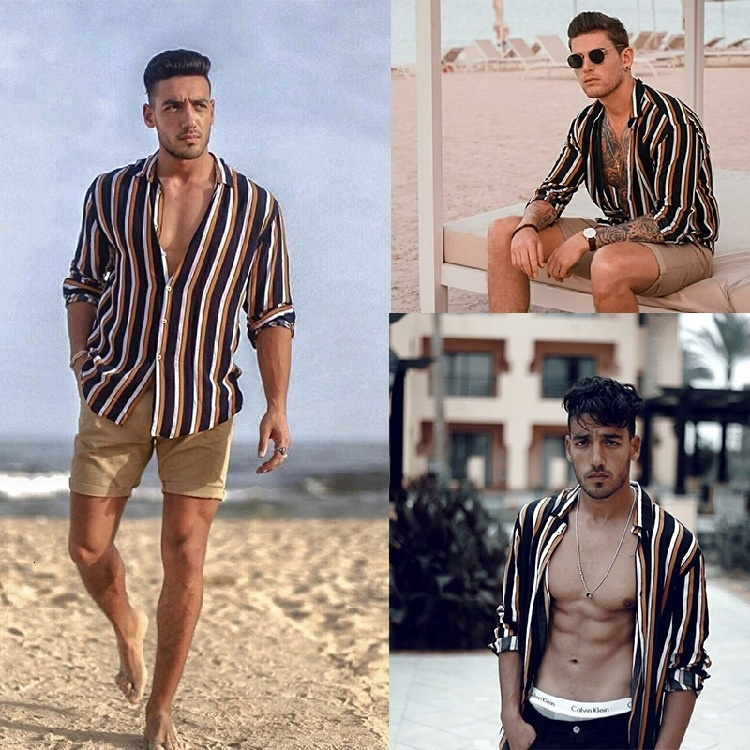 Summer Muscle Male Printing Width Bar Lapel Button Cardigan Long Sleeve Leisure Time Shirt Male