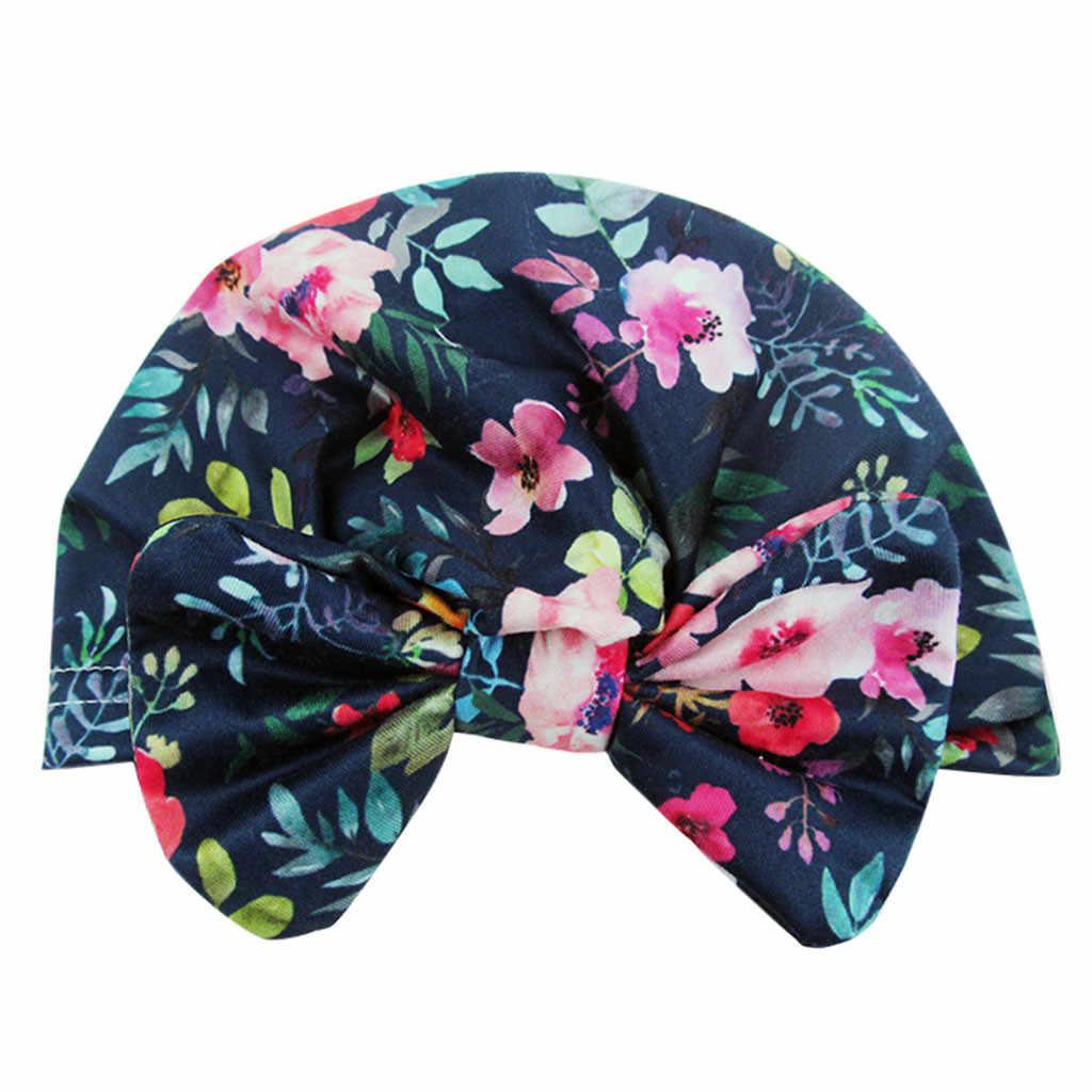 Huang Neeky # P501 2019 moda recién nacido bebé niña bebé sombrero de sol Floral Bowknot Cap niño turbante foto Props envío de la gota