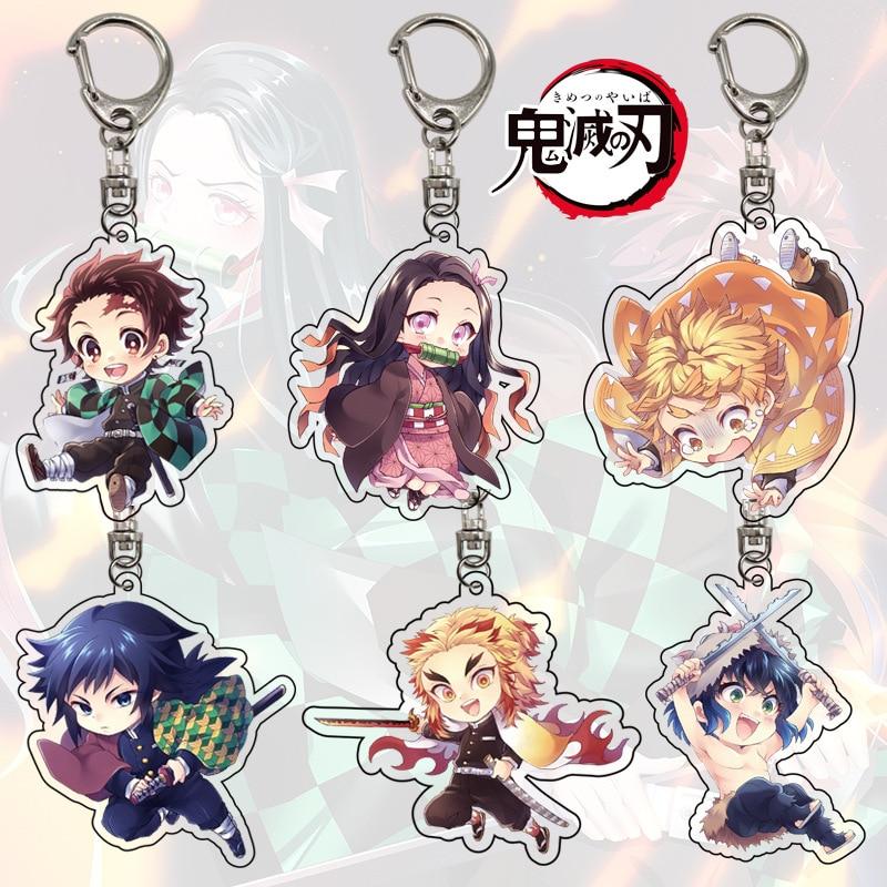 Demon Slayer Kimetsu No Yaiba Anime Keychain Double Sides Key Ring Key Chain