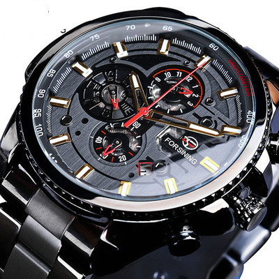 Winner Three Dial Calendar Display Alloy Men Automatic Mechanical  Skeleton Wrist Watches Luxury Brand Military Sport Male Clock