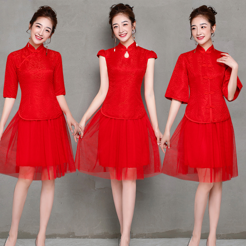 2 Pieces/set Vintage Embroidery Traditional Cheongsam Chinese Dress Qipao Fashion Half Sleeve Red Bridesmaid Dresses Prom Short