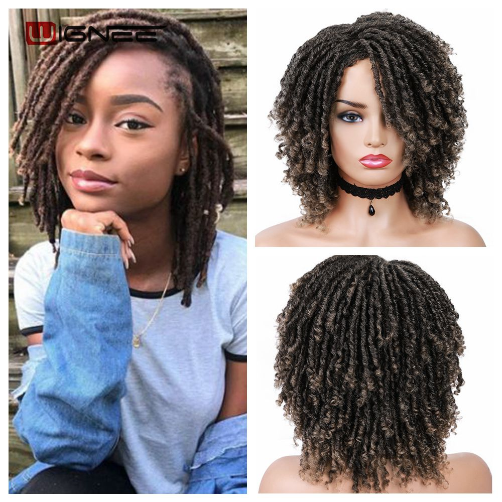 Wignee Short Ombre Brown Dreadlocks Synthetic Wigs For Women Faux locs Afro Kinky Curly Hair With Bangs Crochet Twist Hair Wigs