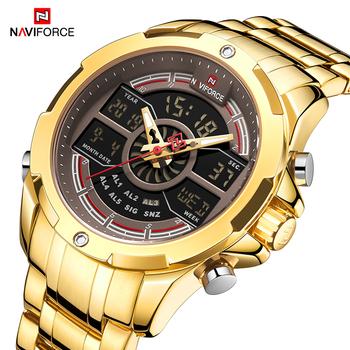 NAVIFORCE Top marka męskie zegarki z podwójnym wyświetlaczem luksusowe złote męskie zegarki kwarcowe męskie moda analogowy LED cyfrowy zegarek wodoodporny tanie i dobre opinie SPORT Składane zapięcie z bezpieczeństwem 3Bar Podwójny Wyświetlacz Stop 23cm Hardlex 15 5mm 23mm ROUND Kwarcowe Zegarki Na Rękę