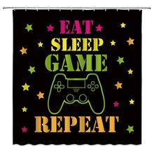 Shower Curtain Gamer Cool Kids Console Repeat Funny Quote Creative Boys