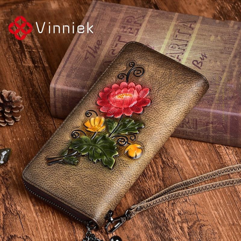 Genuine Leather Women Wallets Luxury Embossed Designer Purse Vintage Daily Clutch Bags Fashion Lady Wristlet Handbag Card Holder