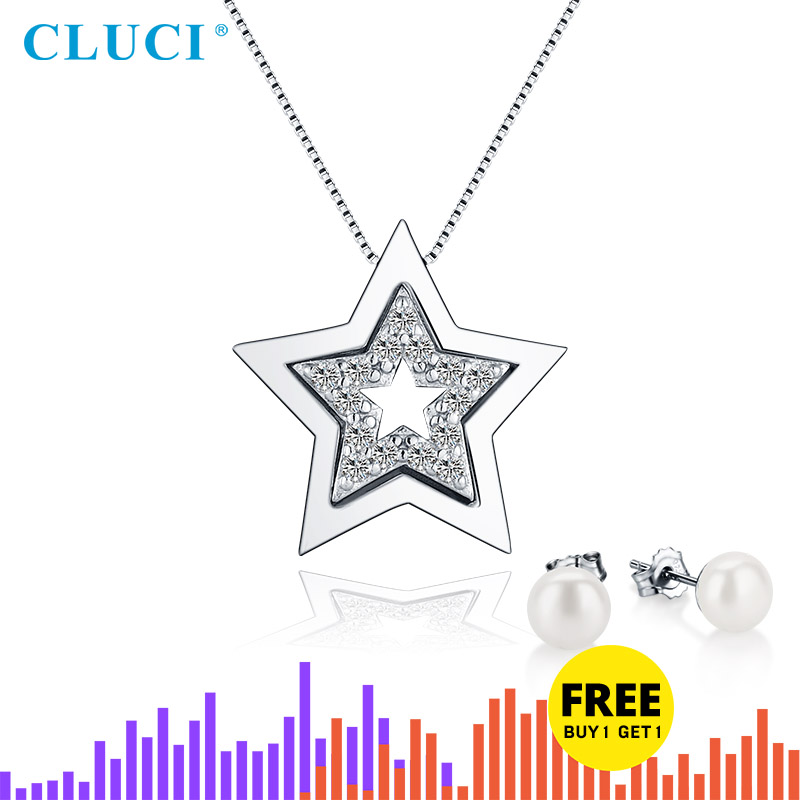 CLUCI Silver 925 Star Shaped Pendant For Women Necklace Jewelry Making Zircon Gemstone 925 Sterling Silver Pendant