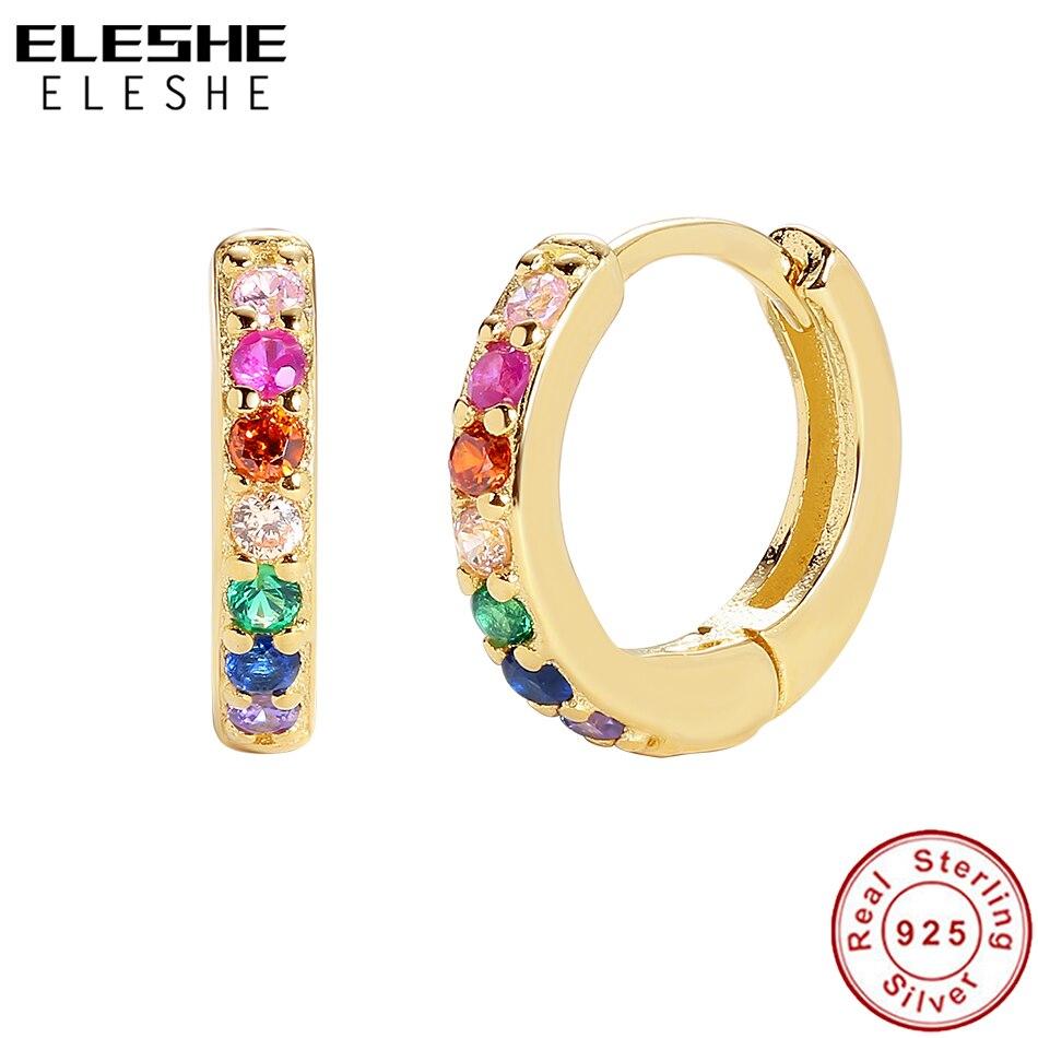 ELESHE authentique 925 boucles d'oreilles en argent Sterling pour les femmes éblouissant cristal arc-en-ciel cerceaux boucles d'oreilles mariage fiançailles Fine bijoux
