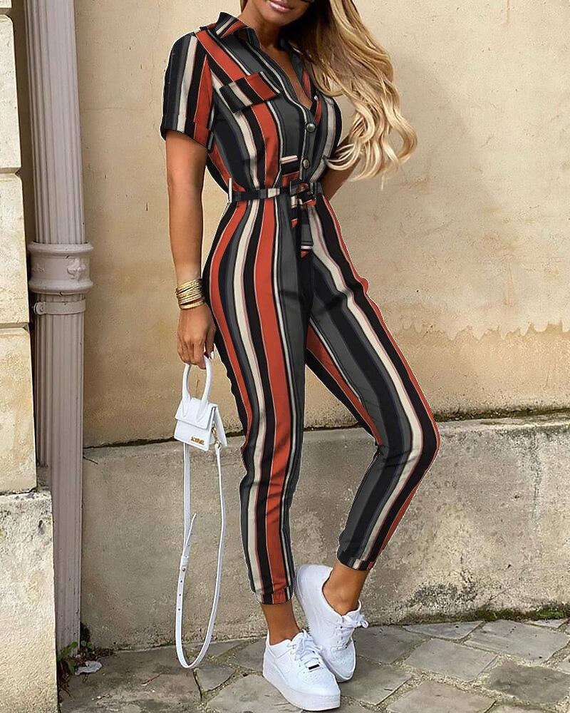 2020 Women Fashion Elegant Belted Casual Spring Pocket Striped Short Sleeve Bottoned Jumpsuits Female